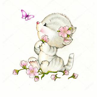 Постер Милый котенок и бабочка