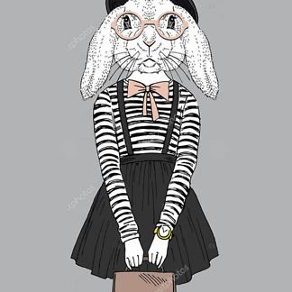 Наряженная хипстер-кролик