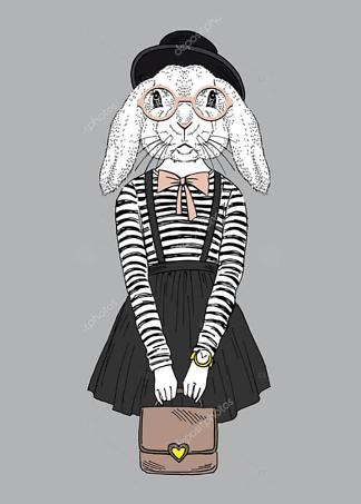 Постер Наряженная хипстер-кролик  - фото