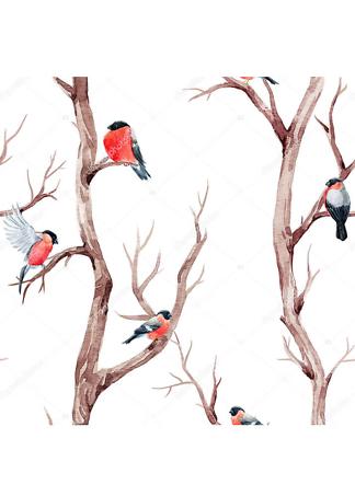 Постер Снегири на дереве  - фото