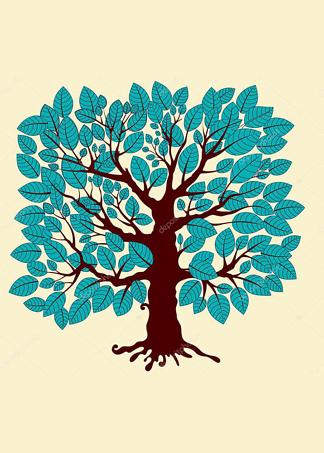 Постер Дерево с голубыми листьями  - фото