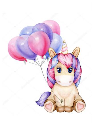 Постер Малыш Единорог с шариками  - фото