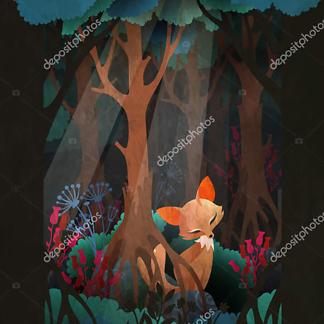 Постер Лис в сказочном лесу  - фото