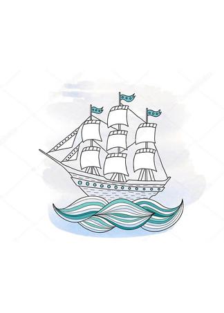 Картина Кораблик на волнах  - фото