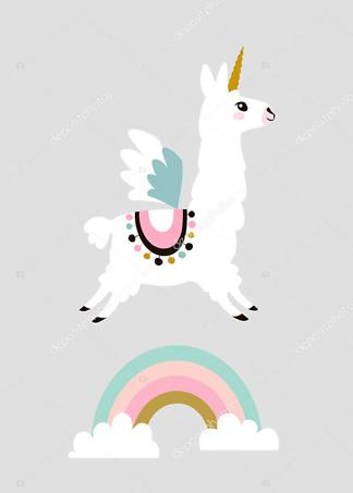 Постер Лама Единорог  - фото