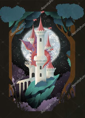 Постер Дракон и замок  - фото