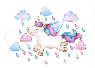 Постер Единорог летит под дождем  - фото