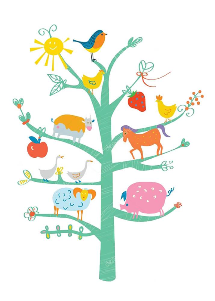 Постер Дерево с животными  - фото
