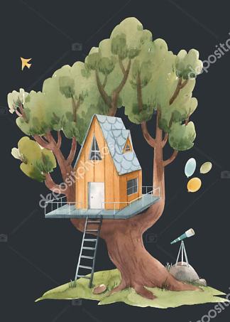 Постер Оранжевый домик на дереве на черном фоне  - фото
