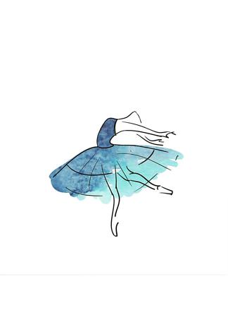 Постер Балерина в голубом платье  - фото