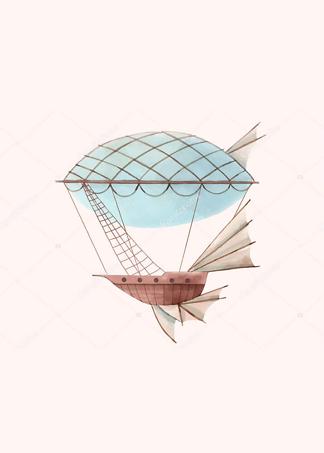 Картина Аэроплан на розовом фоне  - фото