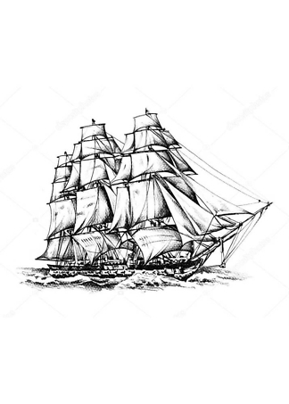 Картина Корабль черно-белый  - фото