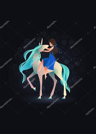 Постер Девушка на Единороге  - фото