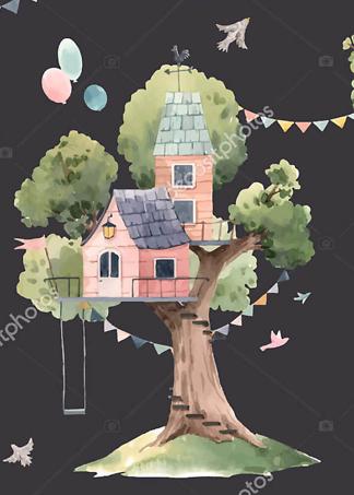 Постер Розовый домик на дереве на черном фоне  - фото