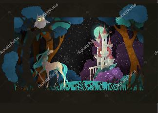 Постер Единорог и замок  - фото