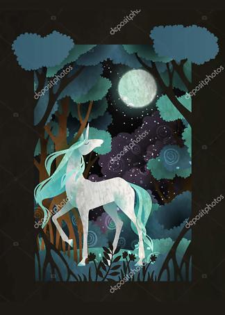 Постер Единорог в волшебном лесу  - фото