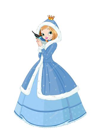Постер Зимняя принцесса с птичкой  - фото