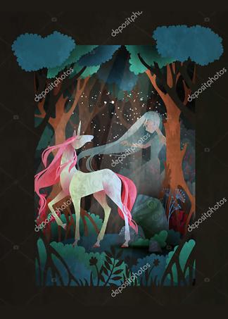 Постер Девушка и Единорог  - фото
