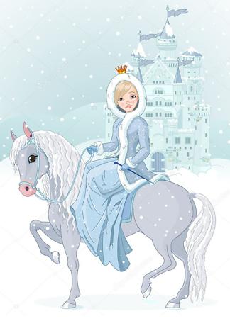 Постер Зимняя принцесса на фоне замка  - фото