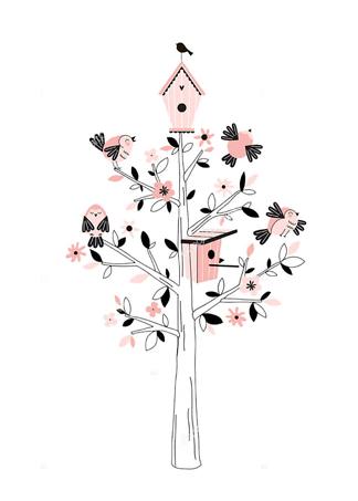 Постер Дерево с птицами  - фото