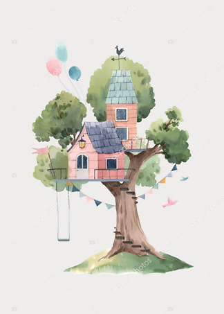 Постер Розовый домик на дереве на бежевом фоне  - фото