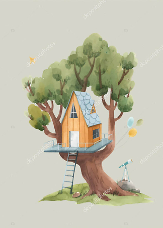 Постер Оранжевый домик на дереве на бежевом фоне  - фото