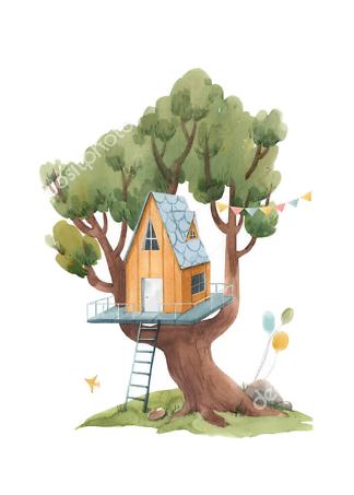 Постер Оранжевый домик на дереве  - фото