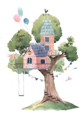 Постер Розовый домик на дереве  - фото