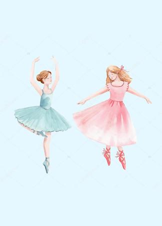 Постер Две балерины на голубом фоне  - фото