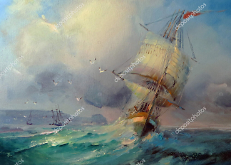 Картина Корабль и шторм  - фото