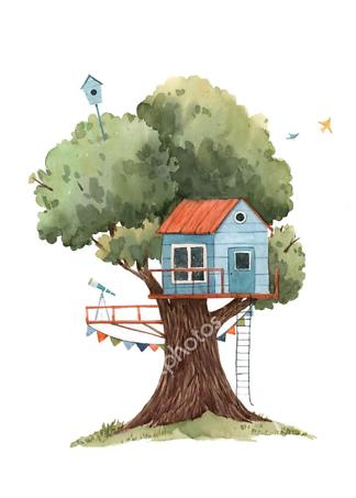 Постер Голубой домик на дереве  - фото