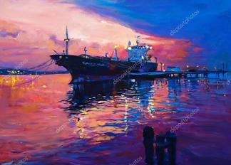 Картина Корабль в порту  - фото