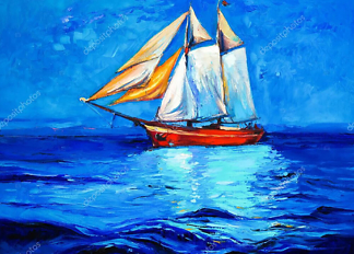 Картина Парусник на море  - фото