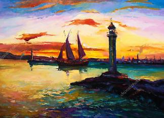 Картина Парусник и маяк  - фото