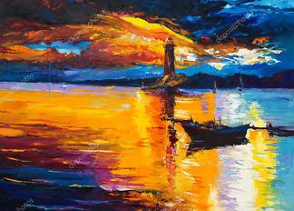 Картина Лодка и маяк  - фото