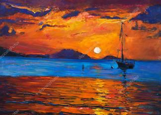 Картина Корабль на закате  - фото