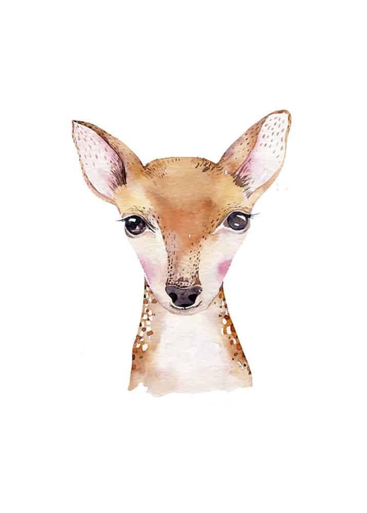 Постер Акварельная олененок  - фото