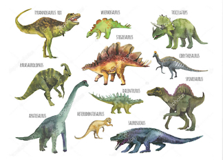 Постер Плакат динозавры акварельные  - фото