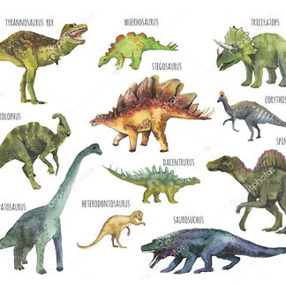 Постер Плакат динозавры акварельные