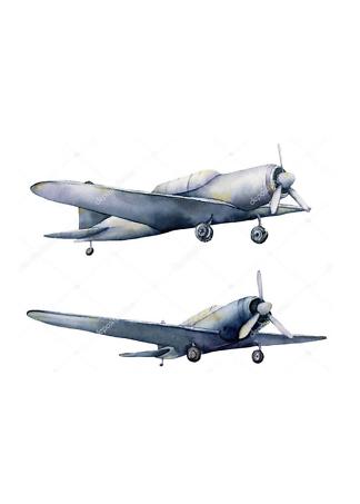 Постер Акварельные самолеты  - фото