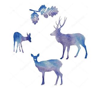 Постер Акварельные силуэты оленей