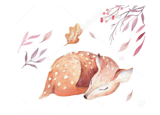 Постер Акварельный олень -1  - фото