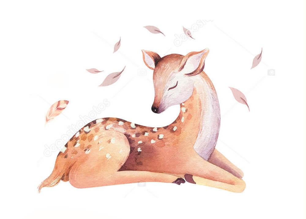 Постер нарисованный олень  - фото
