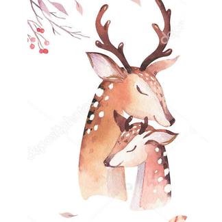 Постер Акварельный олень -4