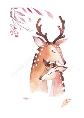 Постер Акварельный олень -4  - фото
