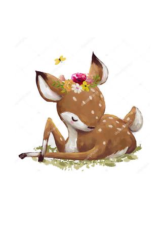 Постер пятнистый олененок  - фото