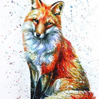 Постер Акварельный рисунок лисы