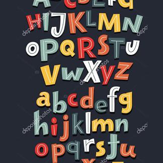 Постер Алфавит на темно-коричневом фоне