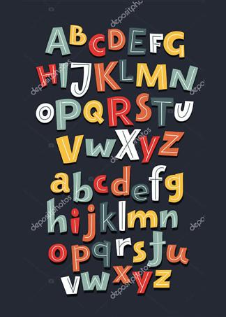Постер Алфавит на темно-коричневом фоне  - фото