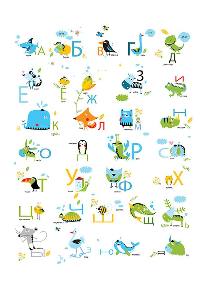 Постер Алфавит с милыми животными  - фото